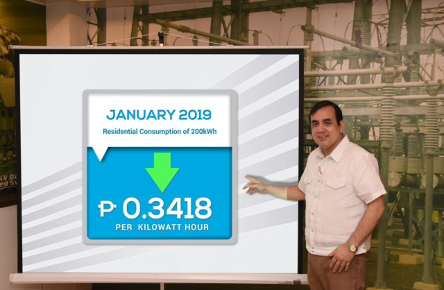 Meralco rate drop January 2019